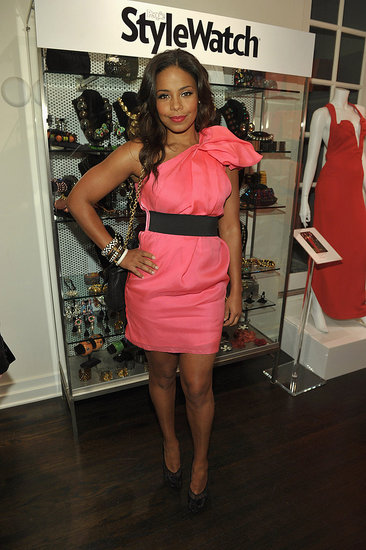 Sanaa Lathan belted a sweet, one-shoulder pink mini.