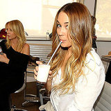 LC sipped on a glass of milk before a photo shoot.  Source: Twitter user laurenconrad
