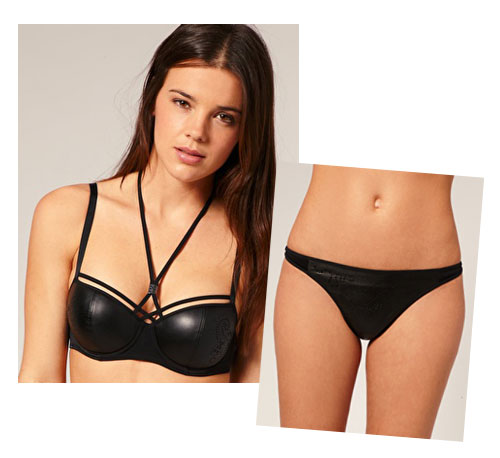 Marlies Dekkers Punched Leather Look Padded Balcony Bra ($176) Marlies Dekkers Punched Leather Look Trim Thong ($89)