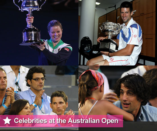 Celebrities at the 2011 Australian Open Including Novak Djokovic, Andy Murray, Eric Bana, Rebecca Twigley, Andy Lee