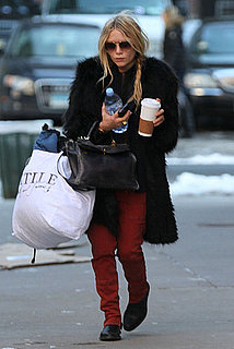 Pictures of Mary-Kate Olsen With Bags and a Big Coffee in NYC