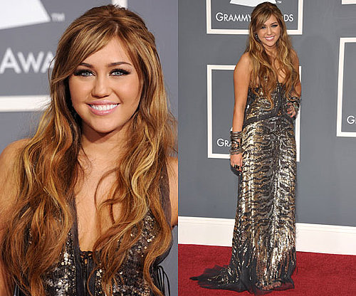 Miley Cyrus in Roberto Cavalli at the Grammys 2011