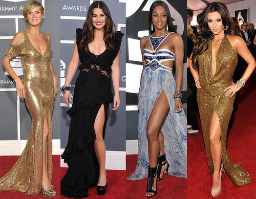 2011 Grammy Awards Red Carpet Trend: Slit Gowns from Lea Michele and Heidi Klum