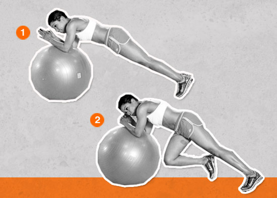 Ball Plank With Alternating Knee Lifts (Core Sculpt)