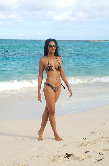 Padma Lakshmi Hits the Beach in a Sexy Bikini on Krishna's First Birthday
