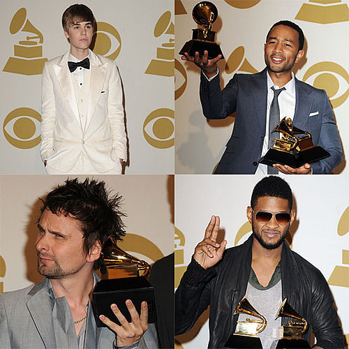 Pictures of Justin Bieber, Usher, John Legend, and Matt Bellamy in the 2011 Grammys Press Room