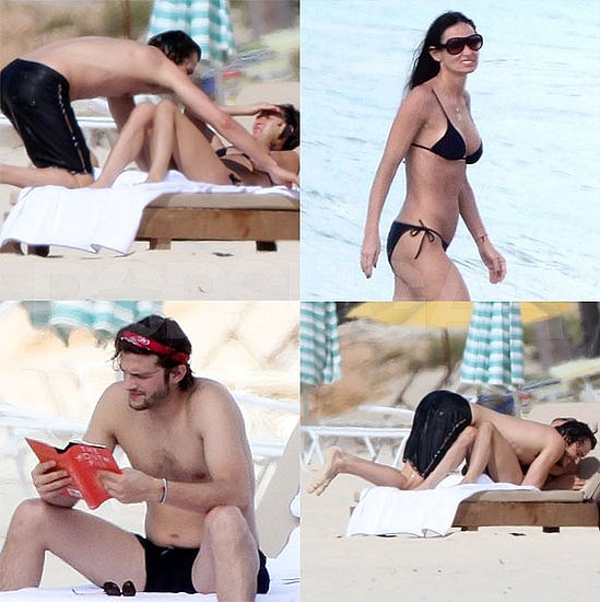 Demi's Back in Her Little Black Bikini For More Beach Fun With Shirtless Ashton