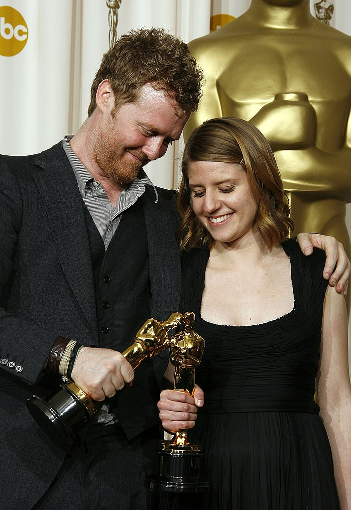 Glen Hansard and Markéta Irglová did some role playing with their Oscars after winning best original song for Once.
