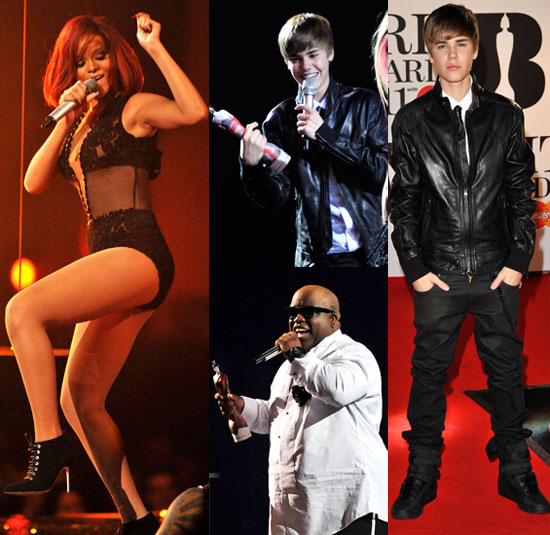Pictures of Rihanna, Cee-Lo Green, Justin Bieber, Avril Lavigne, Mark Ronson at the 2011 Brit Awards