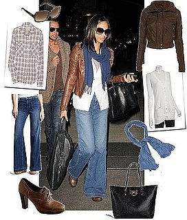 Zoe Saldana Wears J.Brand Wide-Leg Jeans in NYC