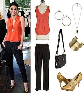 Celebrity Style: Emmanuelle Chriqui Wearing a Bright Top and Trousers in LA
