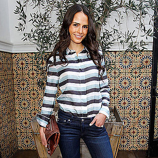 Jordana Brewster Wears Slim Denim and a Striped Top