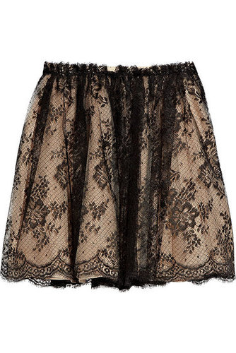 Valentino - Gathered lace skirt