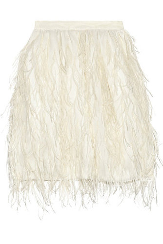 Jason Wu - Ostrich feather-embellished cotton skirt