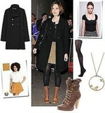 Photo of Keira Knightley in London in Cord Skirt and Black Coat