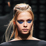 Futuristic-Looking Gold and Metallic Blue Eye Patches at Gareth Pugh