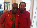 Kanye West and Derek Blasberg show off some seriously bright jackets. Twitpic User: harpersbazaarus