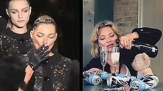 Video: Kate Moss Smokes on the Runway at Paris Fashion Week