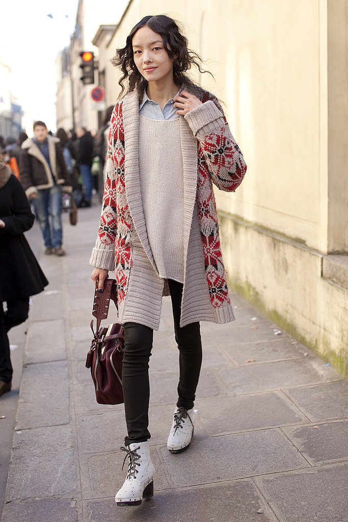 Fair Isle knits look totally fresh as outerwear over slim black leggings.