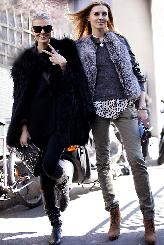 We love the mix of fur accents on both, and we can't help but notice how well leopard print and olive tones pair together (or how much fun these girls are having) — love it all!