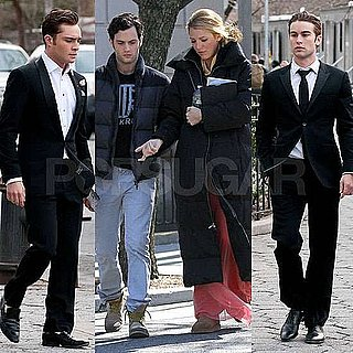 Pictures of Ed Westwick, Chace Crawford, Penn Badgley, Blake Lively, Connor Paolo, Jessica Szohr Filming Gossip Girl Finale