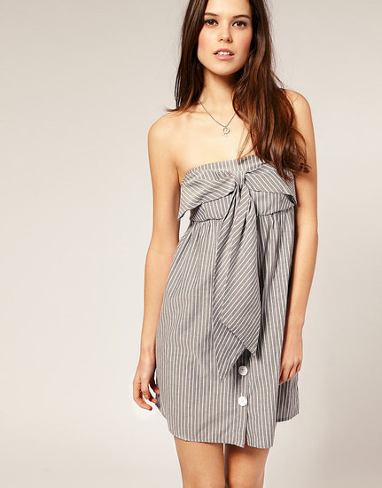 We love the super-sweet bow and buttons. Vero Moda Bow-Front Pinstripe Bandeau Dress ($45)