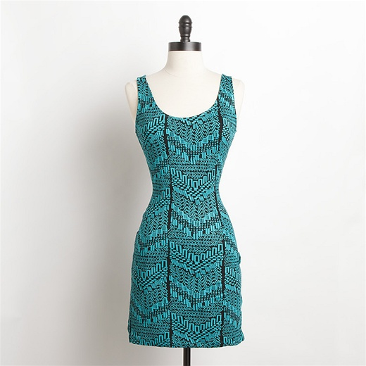 We love the funky print, fresh turquoise color and super-sexy open back on this little mini.  DV by Dolce Vita Peaches Dress ($74)