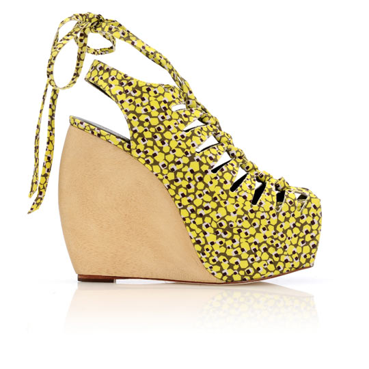We love the cool print and lace-up and ties. LR x Suno Erin Lace-Up Wedge ($645)