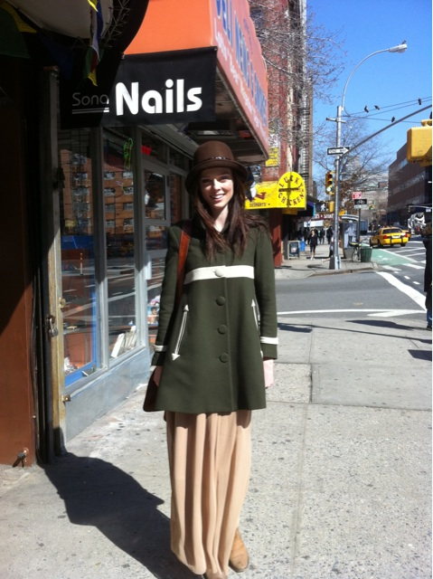 Coco Rocha showed off a super-sweet look on the street.
