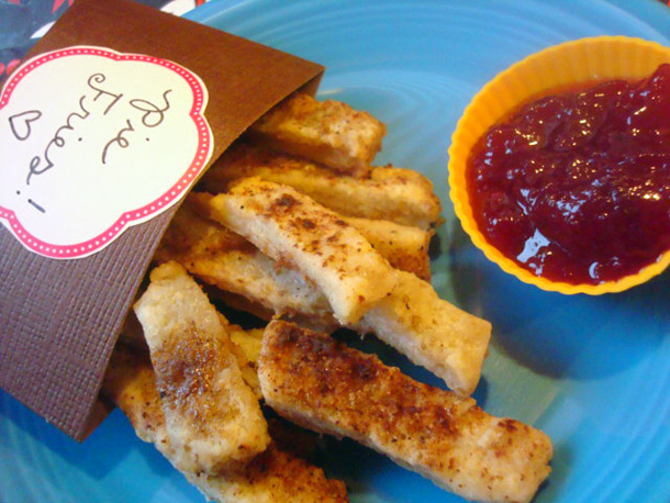 It doesn't get much more out-of-the-pie-pan than pie fries with jam sauce! Source