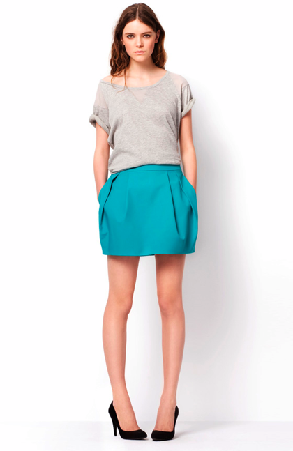 Short-Sleeve Sweatshirt ($30) Colorful Skirt ($40) Basic Court Shoe ($50)