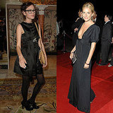 Each with her own take on black event wear — Alexa goes short and geek chic; Sienna shows off a gorgeous neckline.