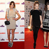 Bold-shouldered minidresses for both on the red carpet.