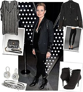 Kate Moss Wears Leggings and Sequin Tunic to W Party in London
