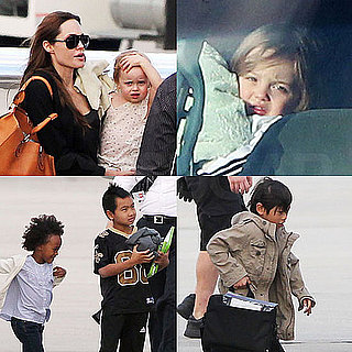 Pictures of Angelina Jolie, Shiloh, Pax, and Maddox Arriving in New Orleans