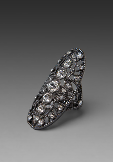 With a super intricate design, this ring reminds us of a great lace piece, but the beauty with a ring is that it's much more wearable.  House of Harlow Oval Finger Ring ($35)