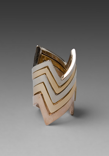 We love the juxtaposition of the lighter palette and fierce jagged shape. House of Harlow Jagged Stacked Rings ($100)