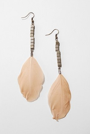 Feathers can feel played out, but in a light hue, paired with small, geometric beads, there's no danger of that here.  Geometric Bead Feather Drop Earrings ($20)