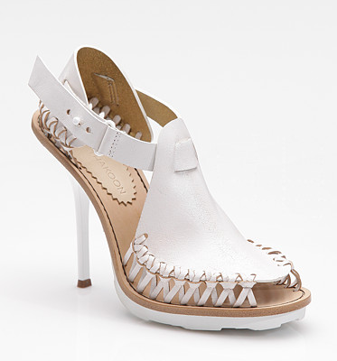 The woven white leather of this Thakoon Sandal ($795) is pretty amazing, and super summery.