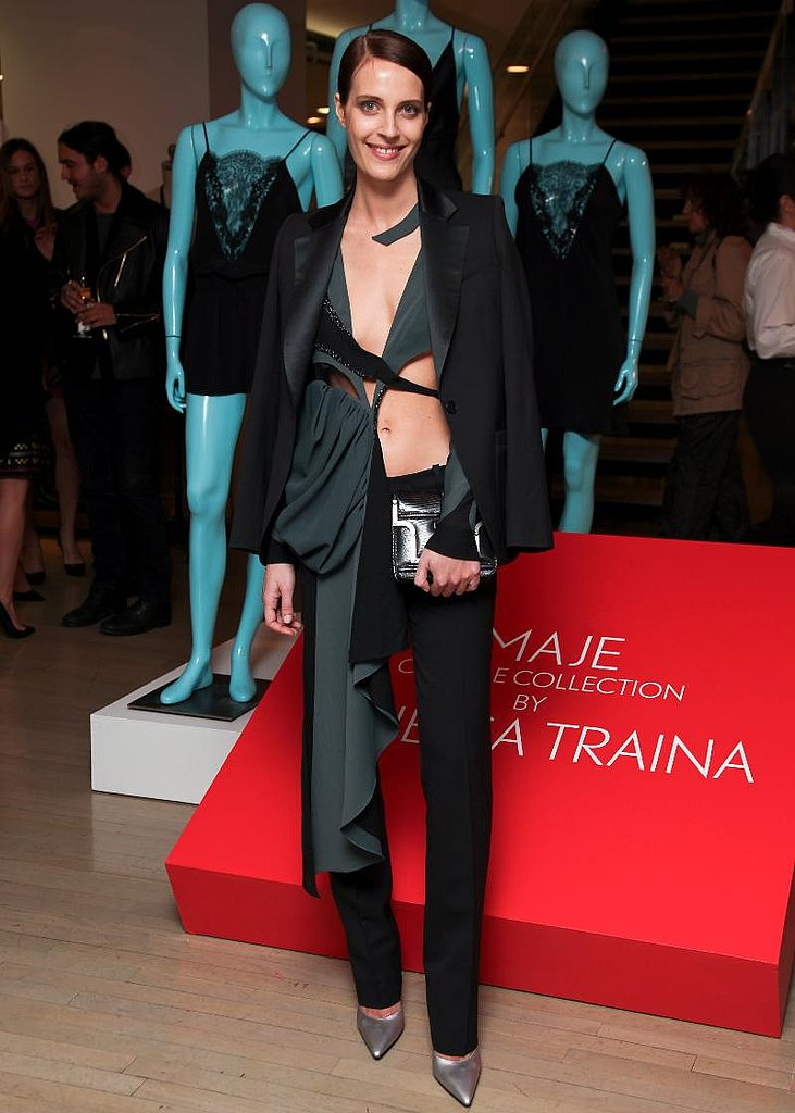 Vanessa Traina in black tuxedo jacket and pant from Vanessa Traina for Maje