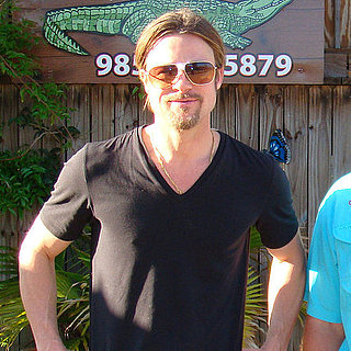 Pictures of Brad Pitt on a Cajun Alligator Encounter