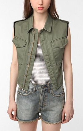 This militant vest is ideal for layering over floral dresses.  Reformed by the Reformation Alec Vest ($79)