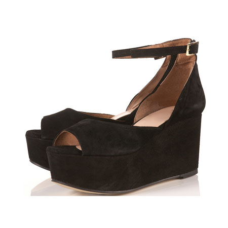 Java Black Suede Peep Toe Platform Wedges