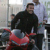 Pictures of David Beckham Riding a Motorcycle