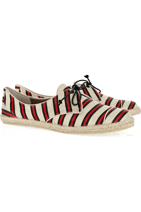 Tabitha Simmons Dolly striped linen and silk-blend flats ($495)