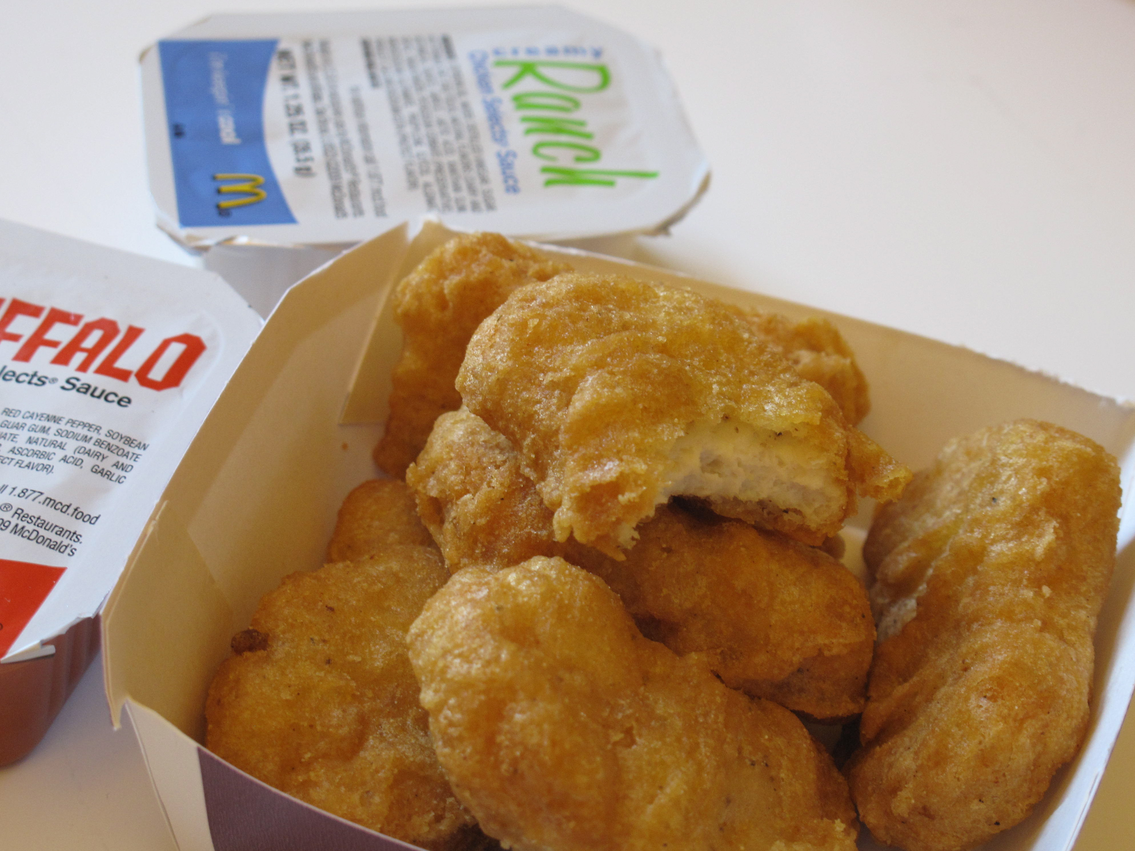The McDonald's Chicken McNuggets and their sauces.