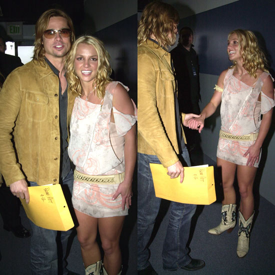 Brad Pitt shook hands and posed for a photo with Britney Spears in 2003.