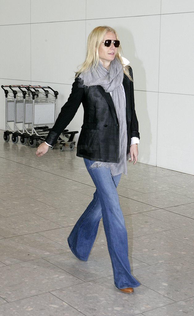 Gwyneth Paltrow gave us super-chic travel style in a blazer and flares.