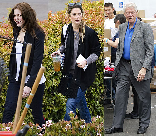 Pictures of Drew Barrymore, Mandy Moore, and Bill Clinton at the San Diego Food Bank