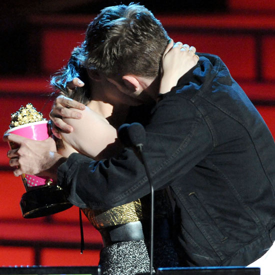 Kristen Stewart and Robert Pattinson shared a real kiss at the MTV Movie Awards in June 2010 in LA.
